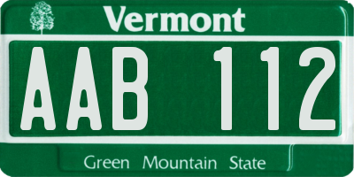 VT license plate AAB112