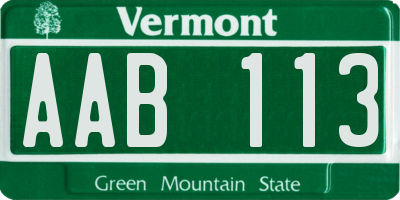 VT license plate AAB113
