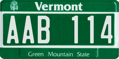 VT license plate AAB114