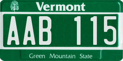 VT license plate AAB115