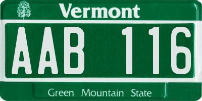 VT license plate AAB116