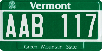 VT license plate AAB117