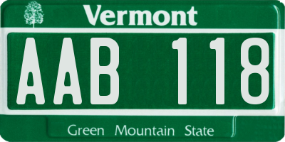 VT license plate AAB118