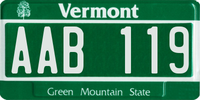 VT license plate AAB119
