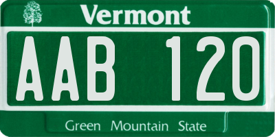 VT license plate AAB120