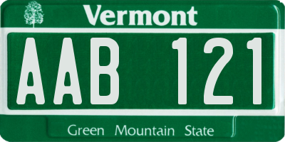 VT license plate AAB121