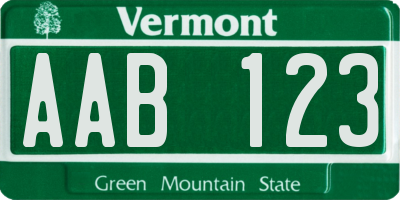 VT license plate AAB123