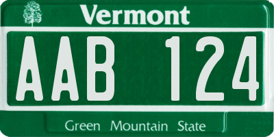 VT license plate AAB124