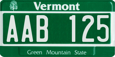 VT license plate AAB125