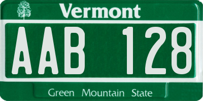 VT license plate AAB128