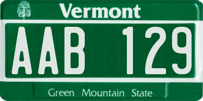 VT license plate AAB129