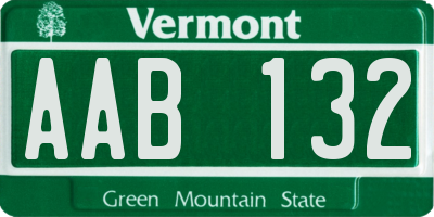 VT license plate AAB132