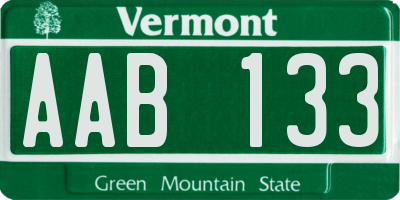 VT license plate AAB133