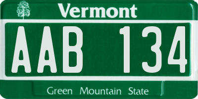 VT license plate AAB134