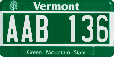 VT license plate AAB136