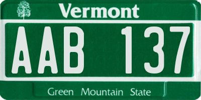 VT license plate AAB137