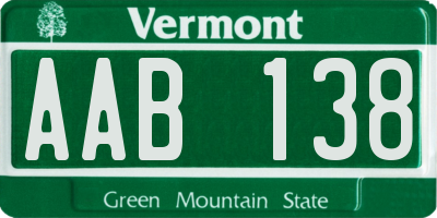 VT license plate AAB138