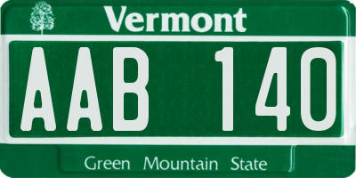 VT license plate AAB140