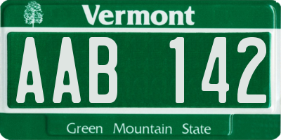 VT license plate AAB142