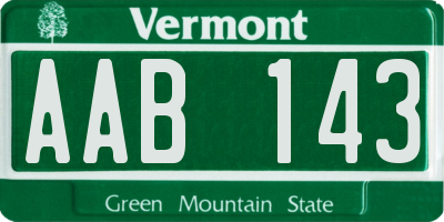 VT license plate AAB143