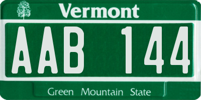 VT license plate AAB144