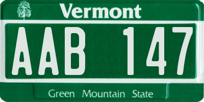 VT license plate AAB147