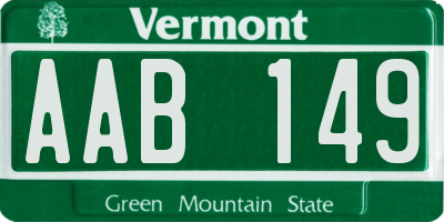 VT license plate AAB149