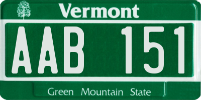 VT license plate AAB151