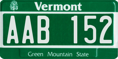 VT license plate AAB152