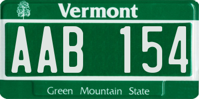 VT license plate AAB154