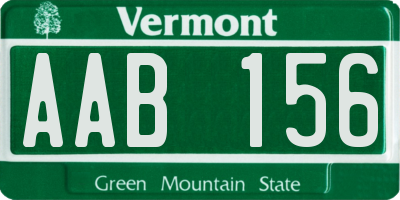 VT license plate AAB156