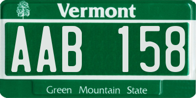 VT license plate AAB158
