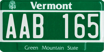 VT license plate AAB165