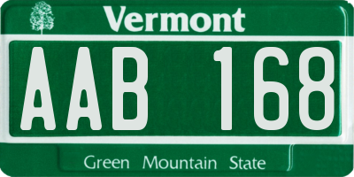 VT license plate AAB168
