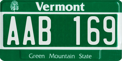 VT license plate AAB169