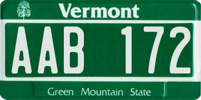VT license plate AAB172