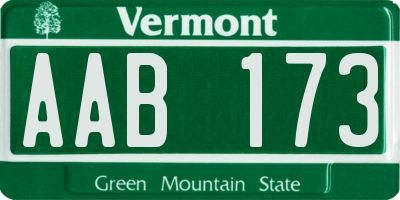 VT license plate AAB173