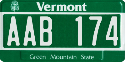 VT license plate AAB174