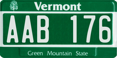 VT license plate AAB176