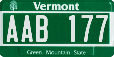 VT license plate AAB177