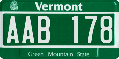 VT license plate AAB178