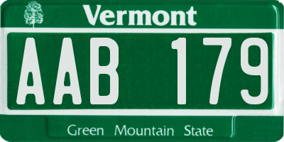 VT license plate AAB179