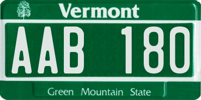 VT license plate AAB180