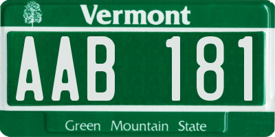 VT license plate AAB181