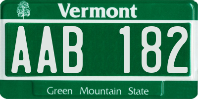 VT license plate AAB182