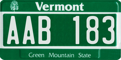 VT license plate AAB183
