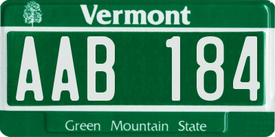 VT license plate AAB184