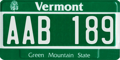 VT license plate AAB189