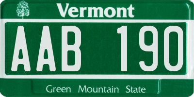 VT license plate AAB190