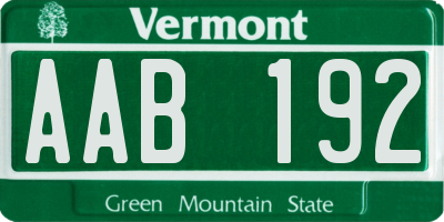 VT license plate AAB192